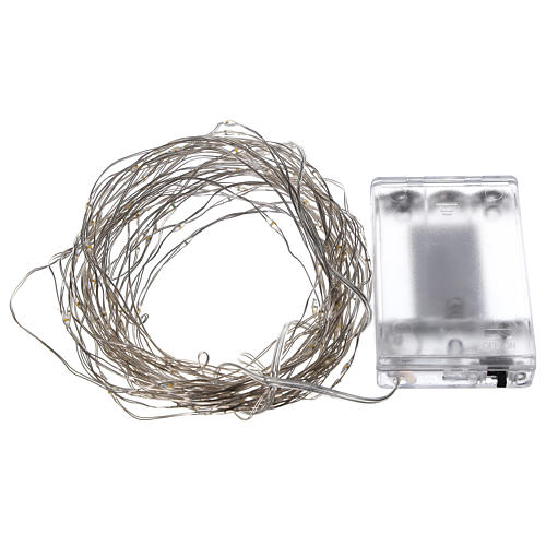 Warm white clear string lights battery operated 10 m 100 LEDs 4