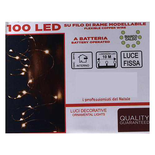 Warm white clear string lights battery operated 10 m 100 LEDs 5