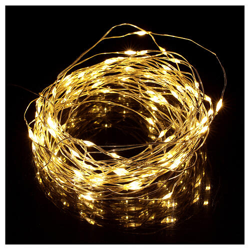 Warm white clear string lights battery operated 10 m 100 LEDs 1