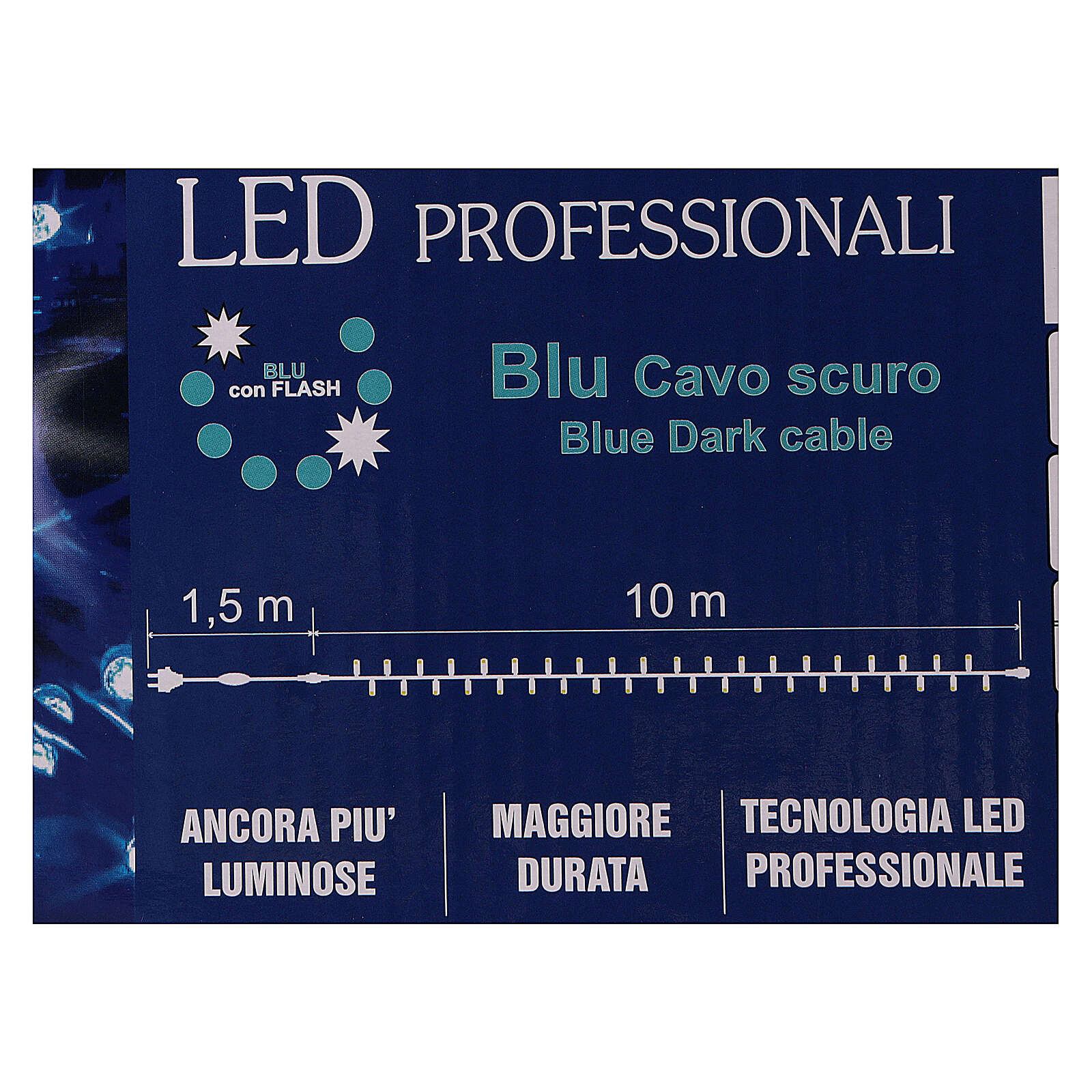 Christmas lights, 1.5 m, 100 blue LED lights, indoor and outdoor use 3