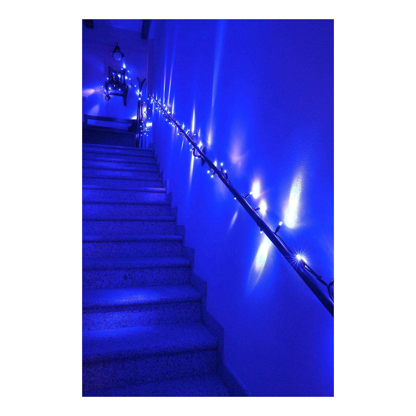 Cadena luminosa Navideña 10 m con 100 led azul exterior corriente 3