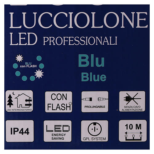 Christmas lights, 10 m, 100 blue LED lights, indoor and outdoor use (power supply not included) 7