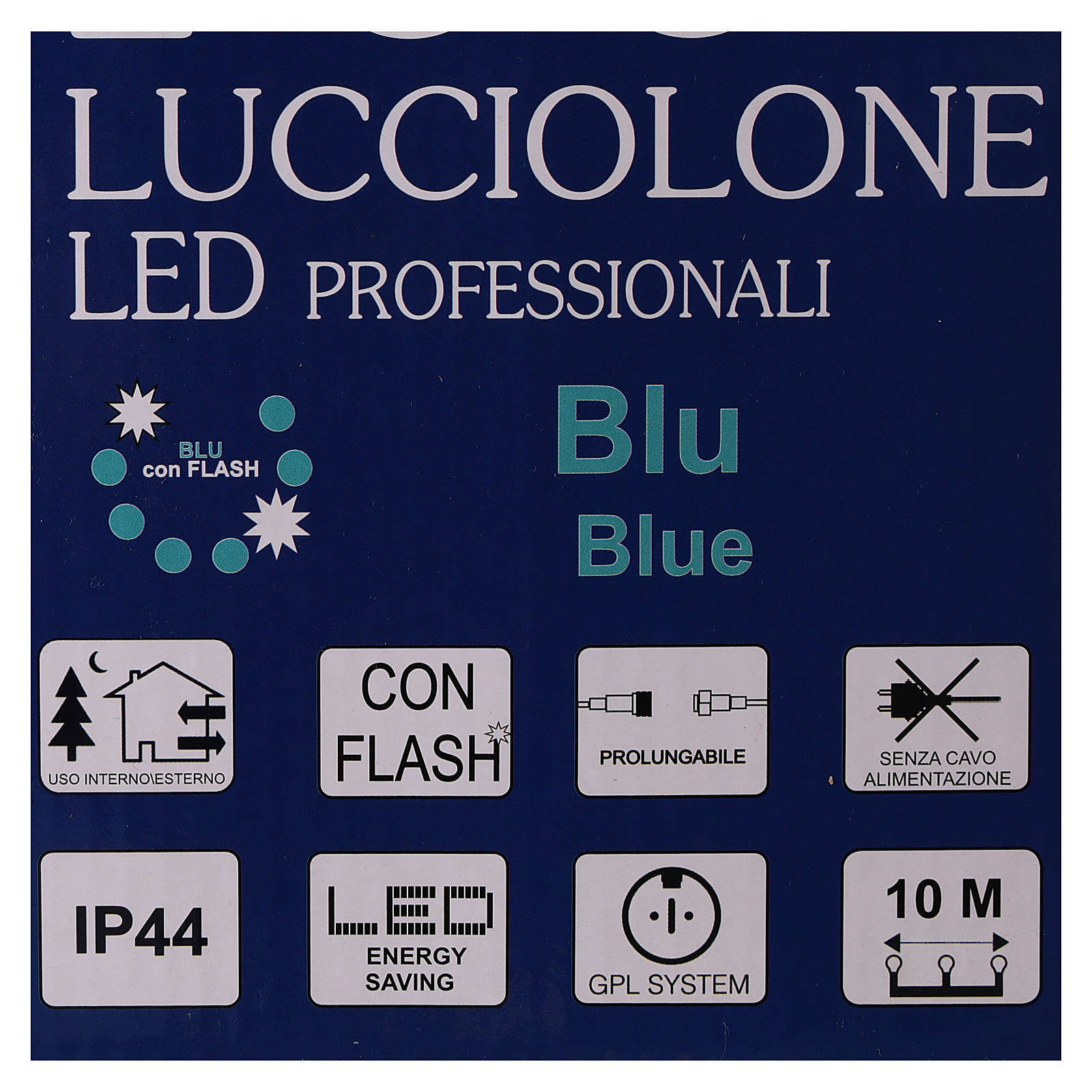 Cadena luminosa 10 m 100 led azul sin alimentador exterior corriente 3