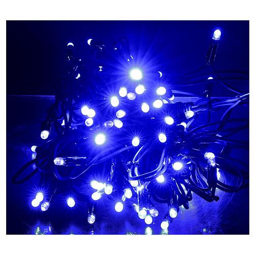 Cadena luminosa 10 m 100 led azul sin alimentador exterior corriente 2