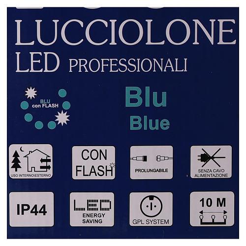 Cadena luminosa 10 m 100 led azul sin alimentador exterior corriente 7