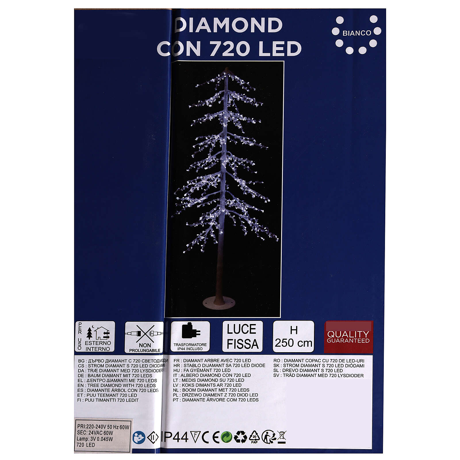 Árbol luminoso Diamond 250 cm 720 led blanco frío exterior corriente 3