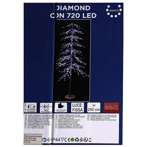 Árbol luminoso Diamond 250 cm 720 led blanco frío exterior corriente 1