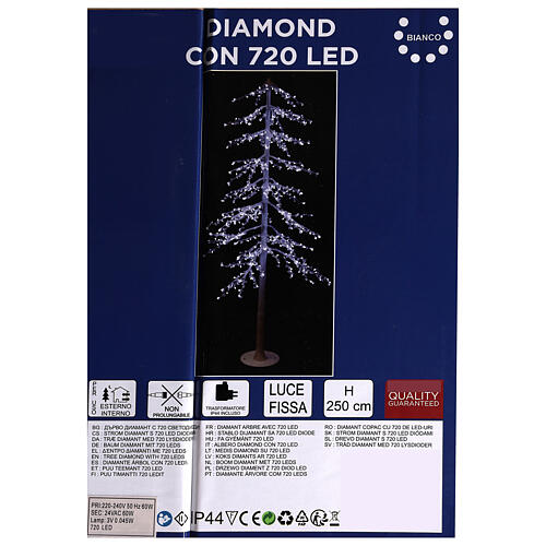 Árbol luminoso Diamond 250 cm 720 led blanco frío exterior corriente 7