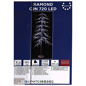 Lighted Christmas tree Diamond 250 cm with 720 cold white LEDs external electric powered s4