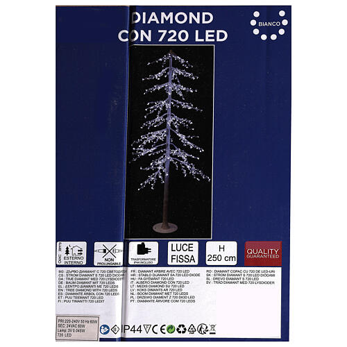 Lighted Christmas tree Diamond 250 cm with 720 cold white LEDs external electric powered 4