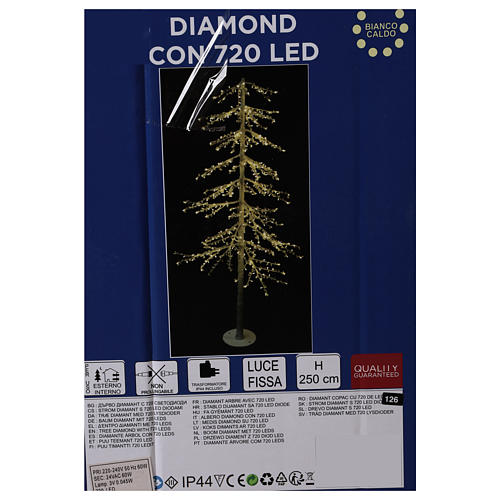 Árbol luminoso Diamond 250 cm 720 led blanco cálido exterior corriente 7