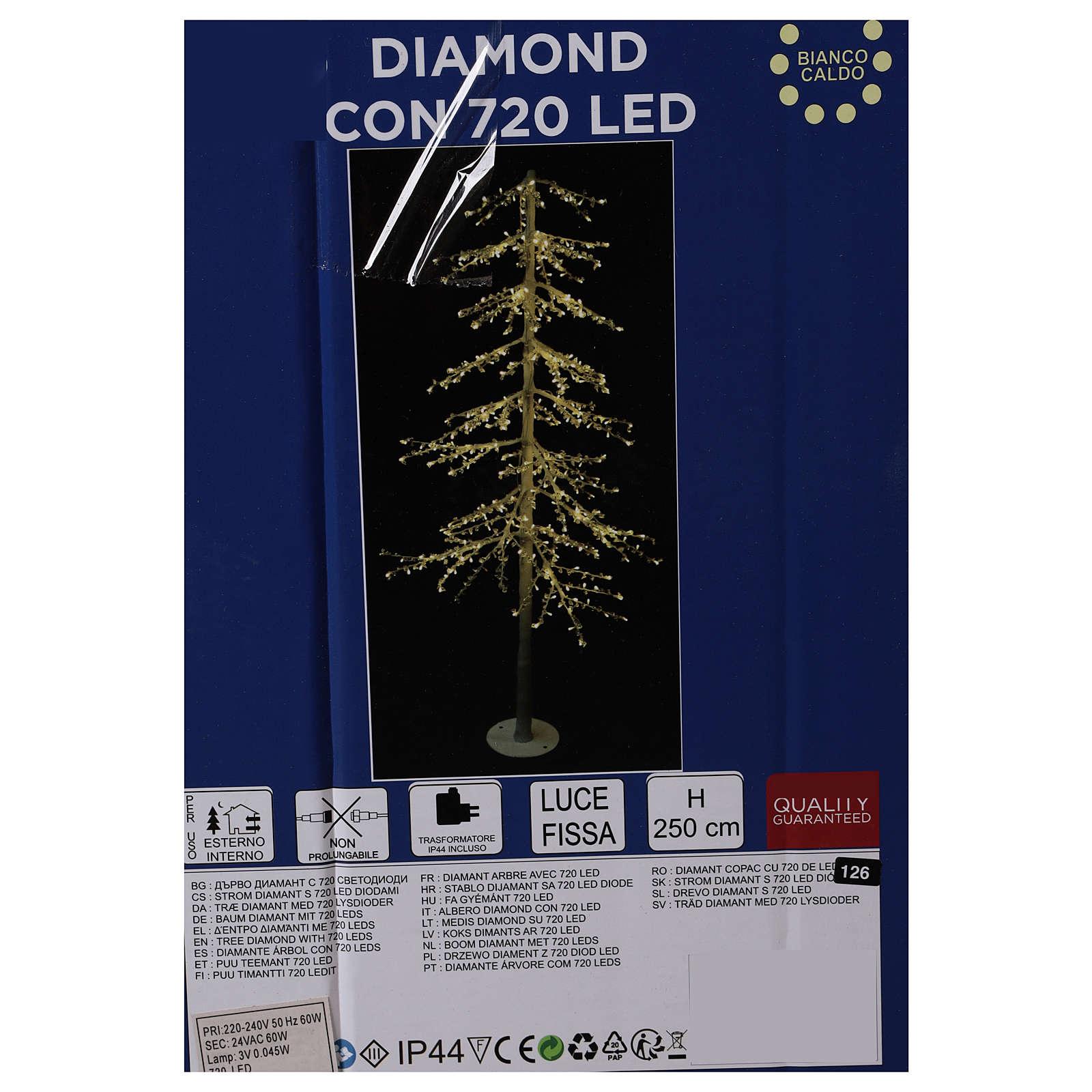 Albero luminoso Diamond 250 cm 720 led bianco caldo esterno corrente 3