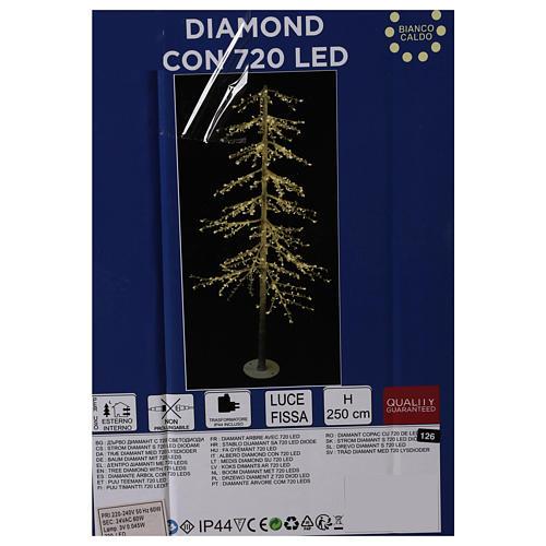 Albero luminoso Diamond 250 cm 720 led bianco caldo esterno corrente 7
