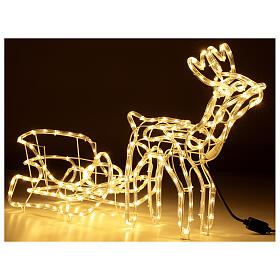 Lighted Reindeer with sleigh warm white 264 LEDs h 52 cm electric OUTDOOR s5