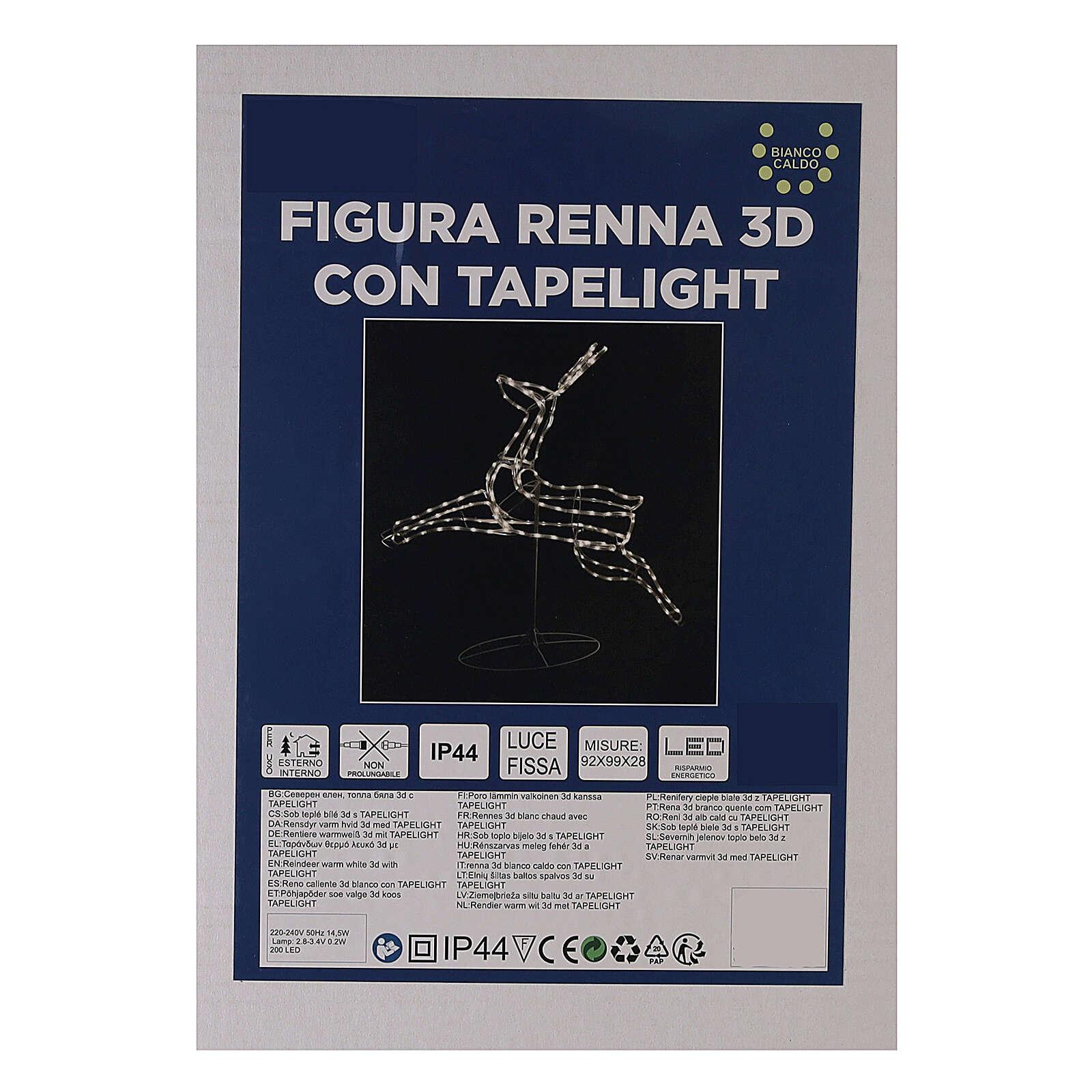 Renna luminosa 3d tapelight bianco caldo 90x100x30 cm ESTERNO 3