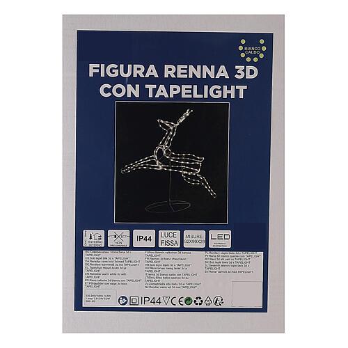 Renna luminosa 3d tapelight bianco caldo 90x100x30 cm ESTERNO 8