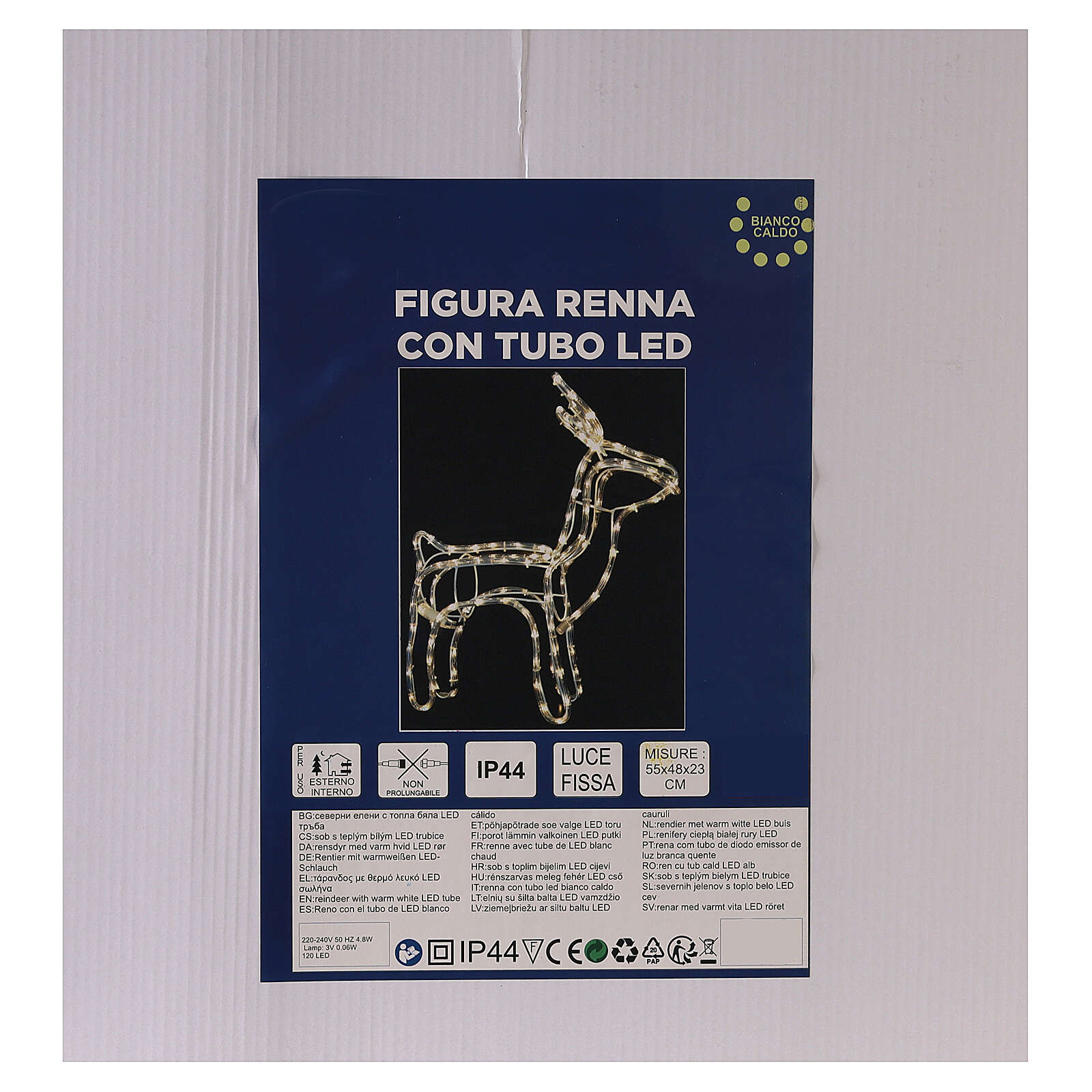 Renna luminosa tubo led bianco caldo 120 led h 55 cm corrente ESTERNO 3