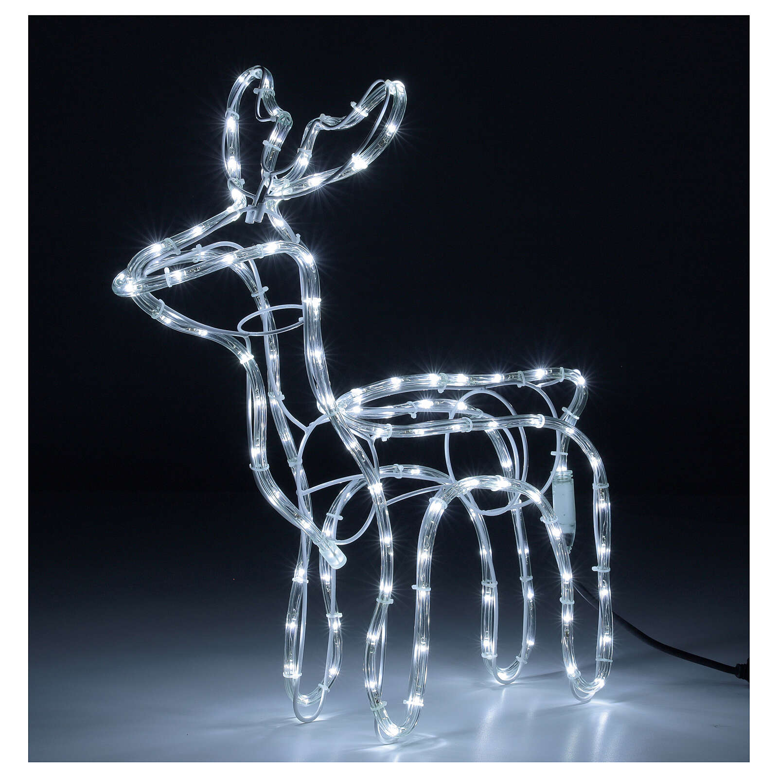 Renna natalizia bianco freddo 120 led h 55 cm corrente 3
