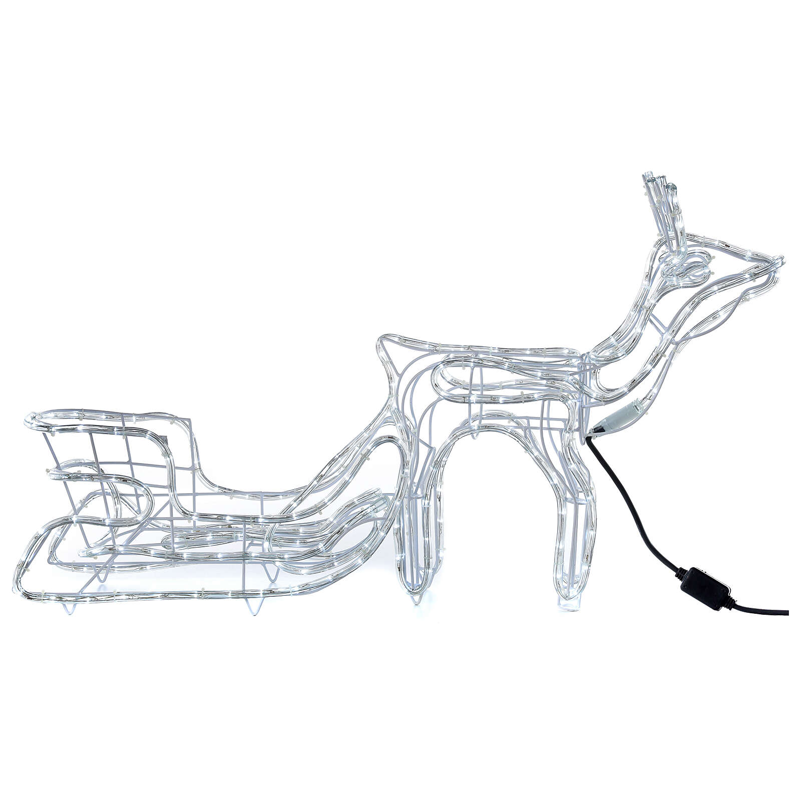 LED reindeer with sleigh 264 cold white lights h 52 cm electric powered OUTDOOR 3