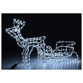 LED reindeer with sleigh 264 cold white lights h 52 cm electric powered OUTDOOR s3