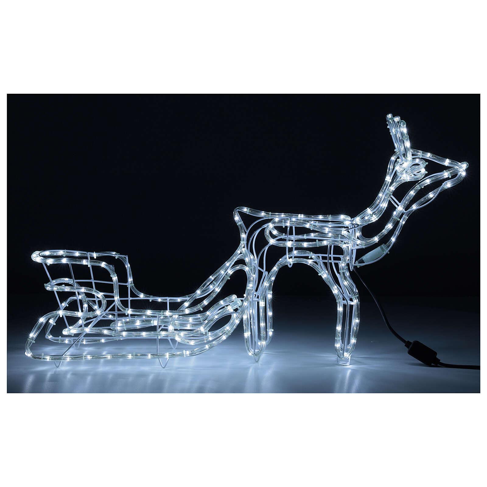 Renna slitta natalizia 264 led bianco freddo h 52 cm corrente ESTERNO 3