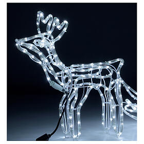 LED reindeer with sleigh 264 cold white lights h 52 cm electric powered OUTDOOR s2