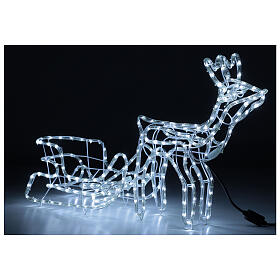 LED reindeer with sleigh 264 cold white lights h 52 cm electric powered OUTDOOR s5