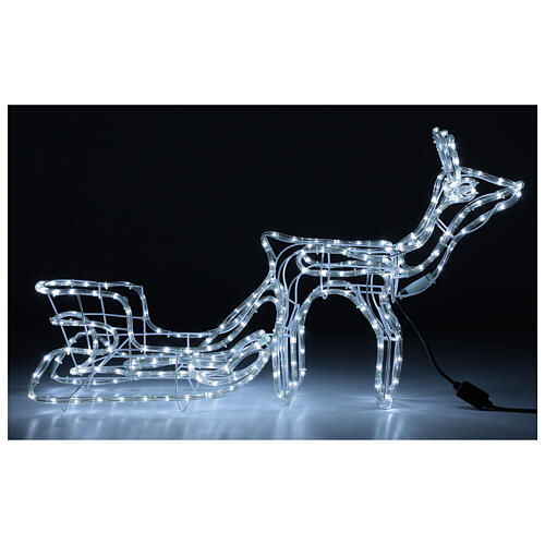 LED reindeer with sleigh 264 cold white lights h 52 cm electric powered OUTDOOR 1