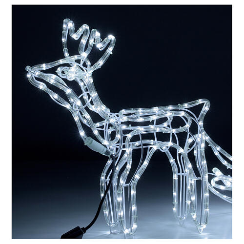 LED reindeer with sleigh 264 cold white lights h 52 cm electric powered OUTDOOR 2