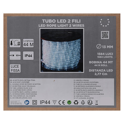LED rope light PROFESSIONAL grade 44 m 2 wires 1584 LEDs 13 mm cold white OUTDOOR 4