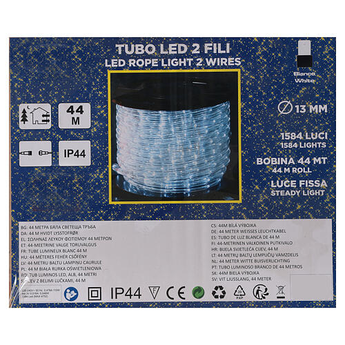 LED rope light PROFESSIONAL 44 m 2 wires LEDs cool white OUTDOOR 4