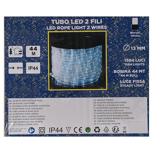 Tubo 2 fili lampadine led PROFESSIONAL 44 m bianco freddo corrente ESTERNO 4