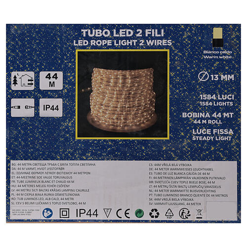LED strip lights PROFESSIONAL 2 wires 1584 warm white LEDs 44 m electric powered OUTDOOR 5