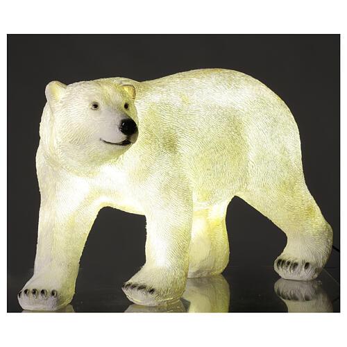 Orso polare led bianco luce Natale 35x55x30 cm 2