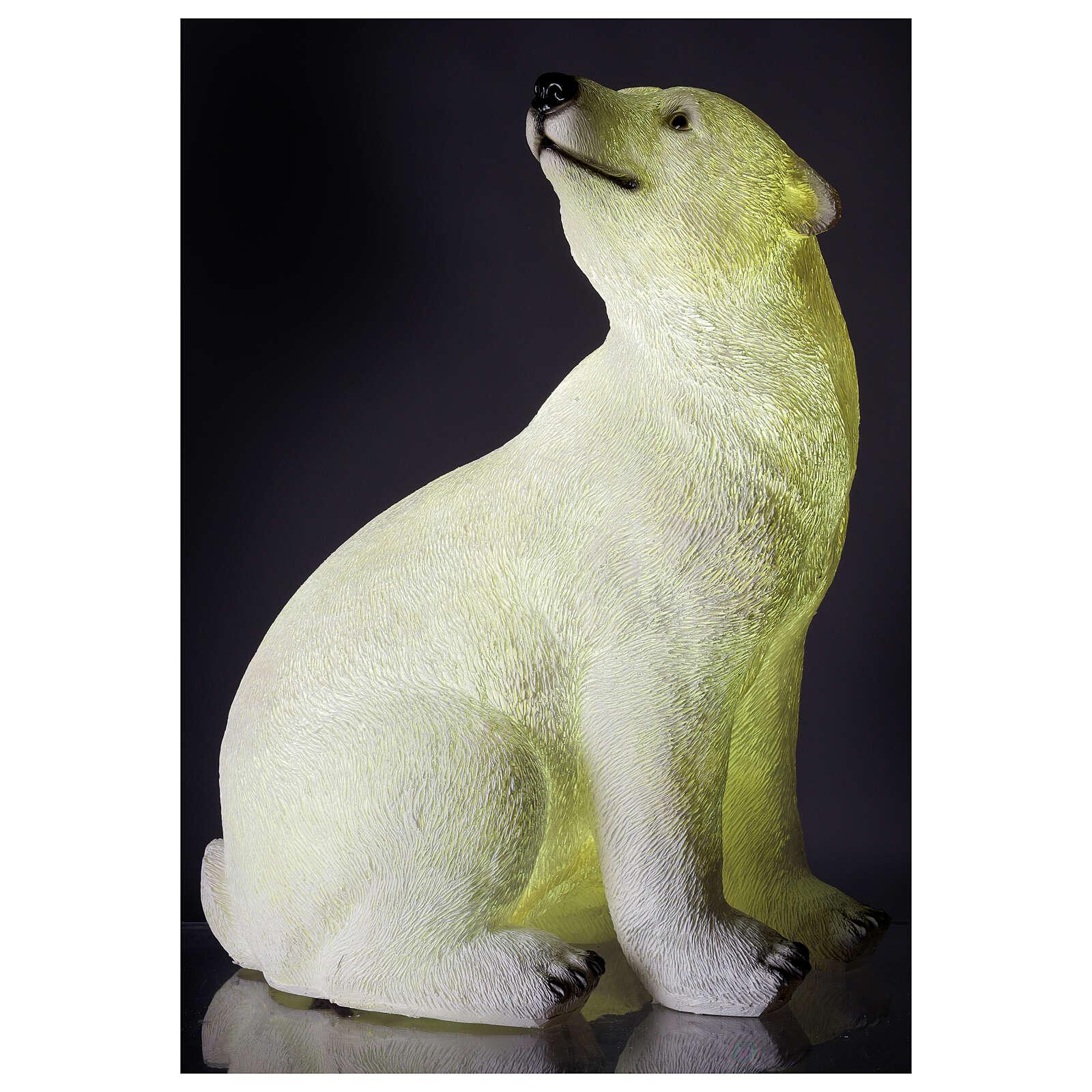 Orso polare seduto addobbo Natale LED bianco esterni 50x40x30 cm 3