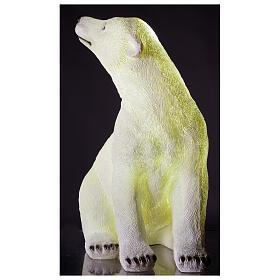 Orso polare seduto addobbo Natale LED bianco esterni 50x40x30 cm s2