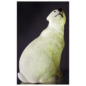 Orso polare seduto addobbo Natale LED bianco esterni 50x40x30 cm s3