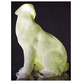 Orso polare seduto addobbo Natale LED bianco esterni 50x40x30 cm s4