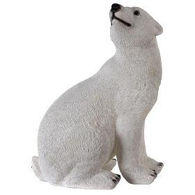 Orso polare seduto addobbo Natale LED bianco esterni 50x40x30 cm s5
