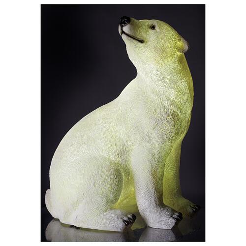 Orso polare seduto addobbo Natale LED bianco esterni 50x40x30 cm 1