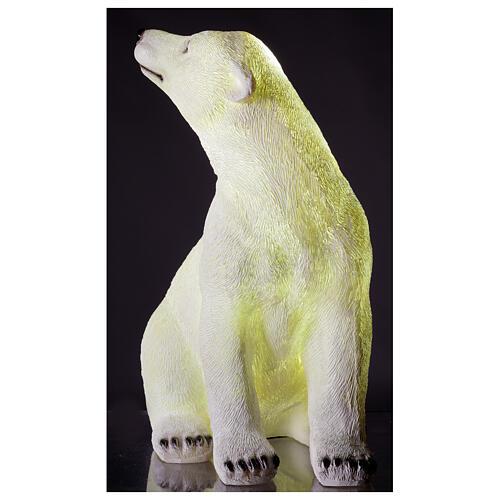 Orso polare seduto addobbo Natale LED bianco esterni 50x40x30 cm 2