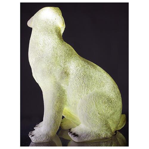 Orso polare seduto addobbo Natale LED bianco esterni 50x40x30 cm 4