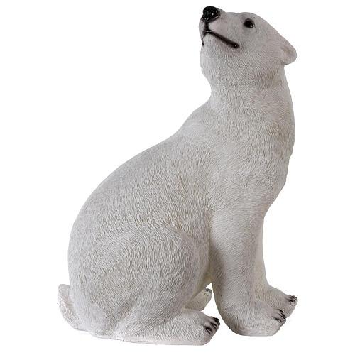 Orso polare seduto addobbo Natale LED bianco esterni 50x40x30 cm 5