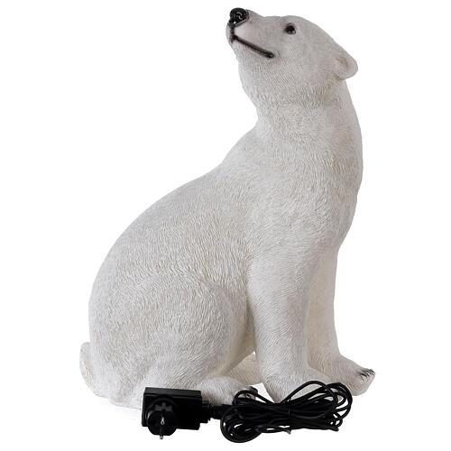 Orso polare seduto addobbo Natale LED bianco esterni 50x40x30 cm 6