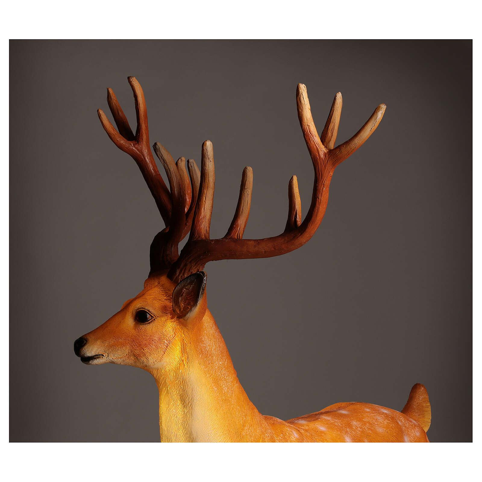 Cerf lumineux pour extérieur LED dorés 105x85x65 cm 3