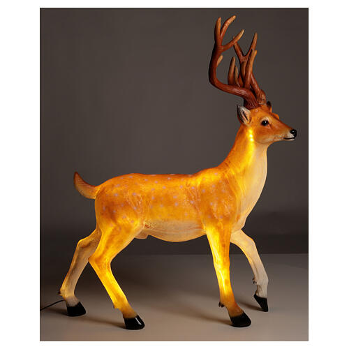 Cerf lumineux pour extérieur LED dorés 105x85x65 cm 1