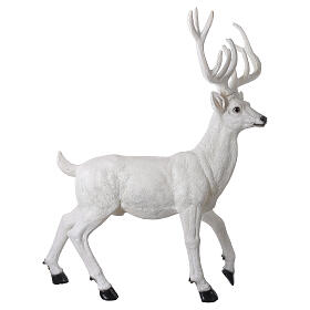 Lighted Deer Christmas decoration white for outdoors 105x85x65 cm s5