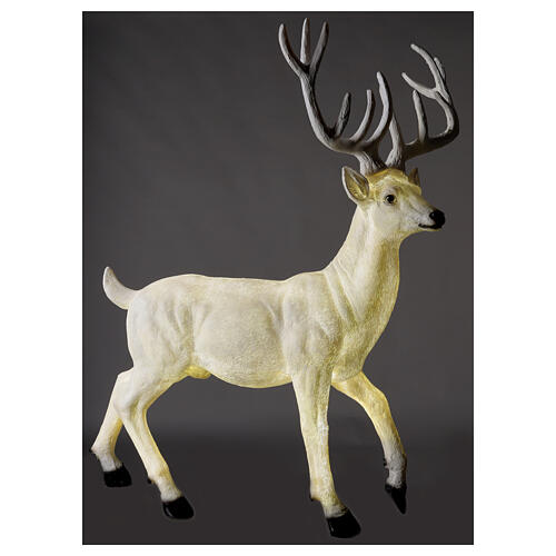 Lighted Deer Christmas decoration white for outdoors 105x85x65 cm 1