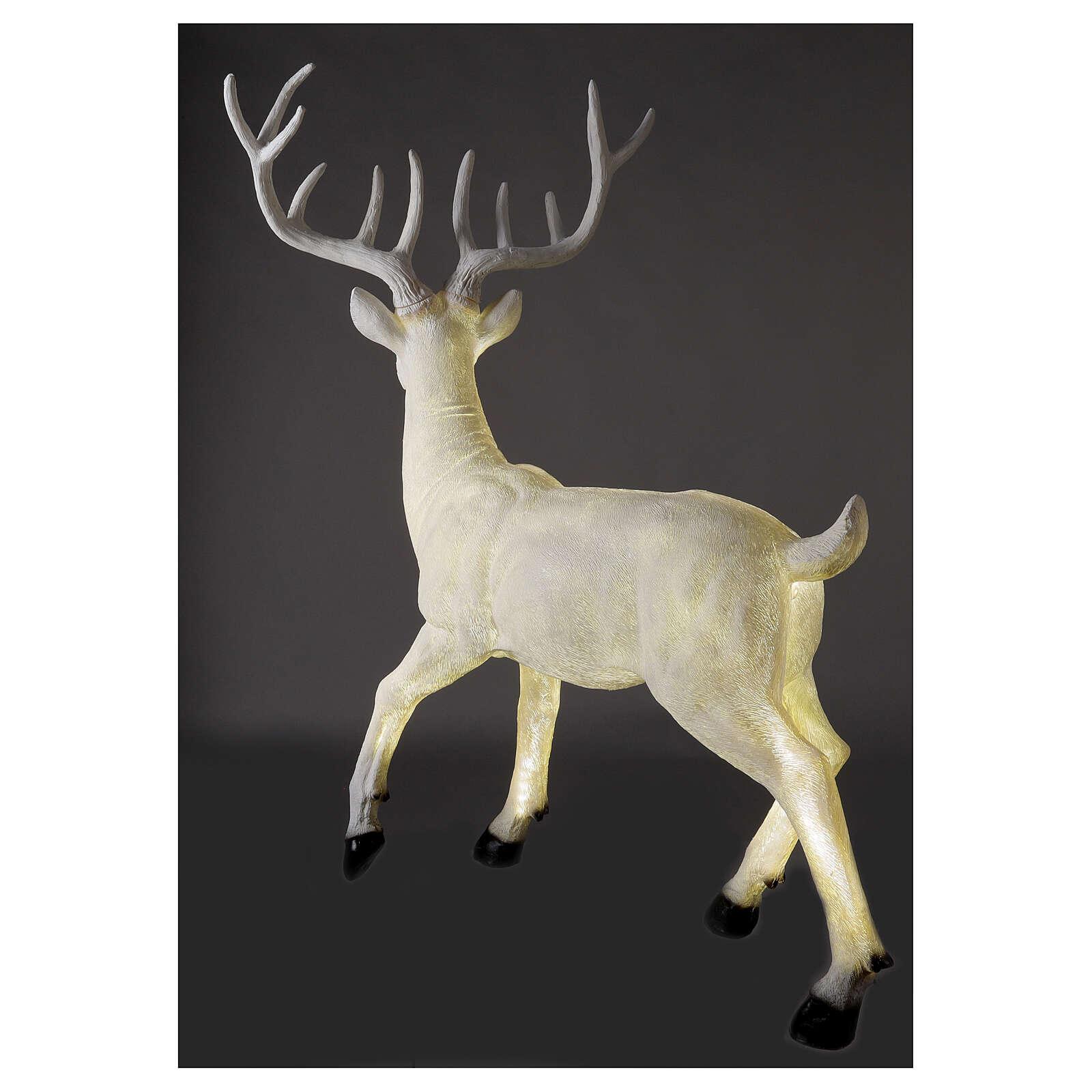 Luminaire Noël cerf LED blanc pour extérieur 105x85x65 cm 3