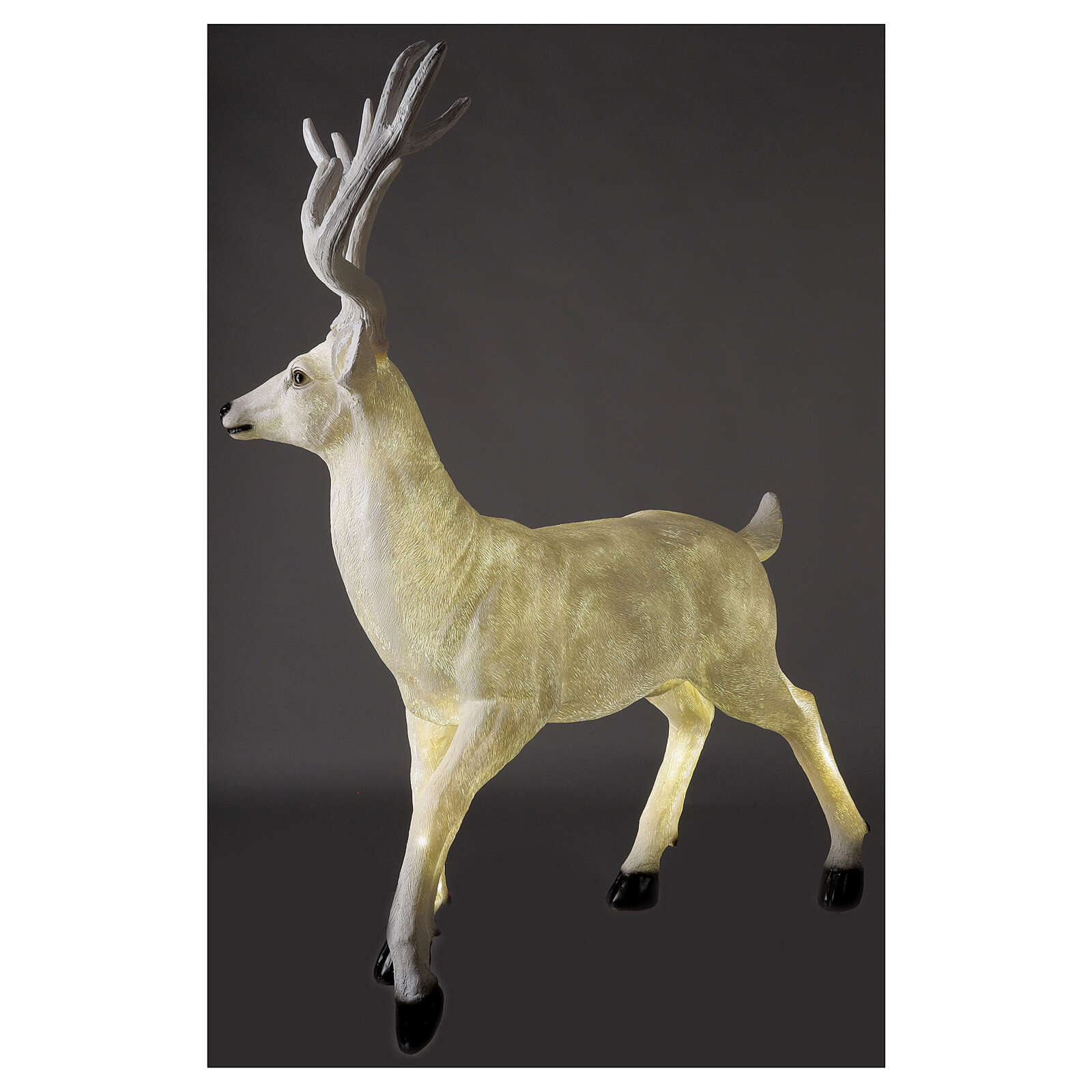 Lighted Deer Christmas decoration white for outdoors 105x85x65 cm 3